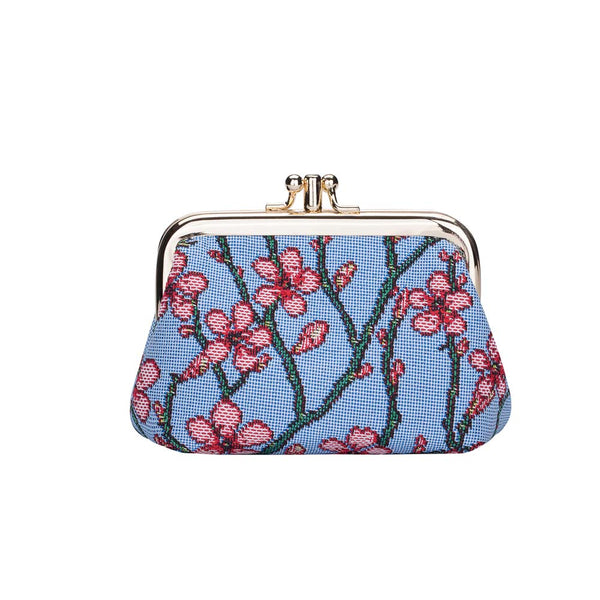 FRMP-BLOS | ALMOND BLOSSOM AND SWALLOW COIN CLASP FRAME PURSE WALLET - www.signareusa.com