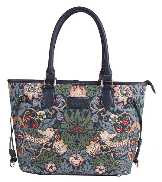 TOTE-STBL | WILLIAM MORRIS STRAWBERRY THIEF BLUE TOTE BAG SHOULDER HANDBAG - www.signareusa.com