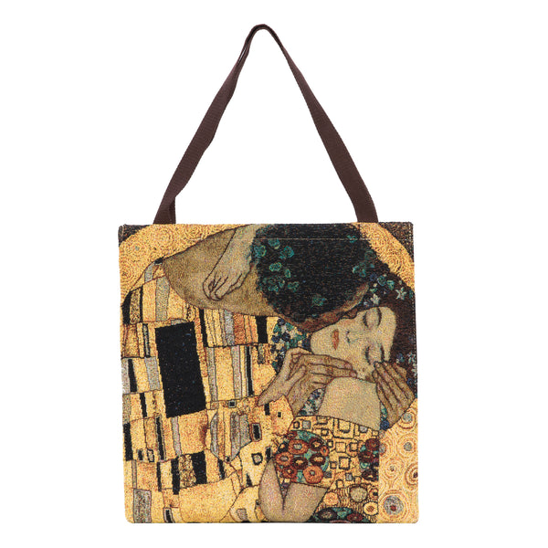 GUSS-ART-GK-GDKS | Klimt Gold Kiss Foldable Gusset Shopping Bag - www.signareusa.com