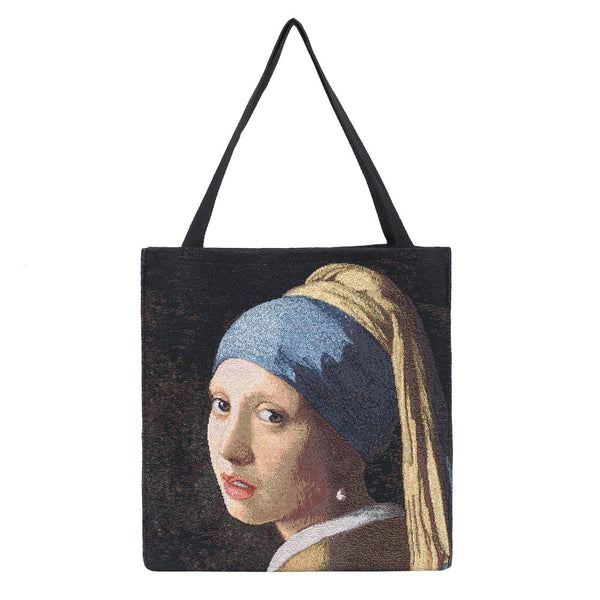 GUSS-ART-JV-GIRL | Girl with a Pearl Earring Foldable Gusset Shopping Bag - www.signareusa.com