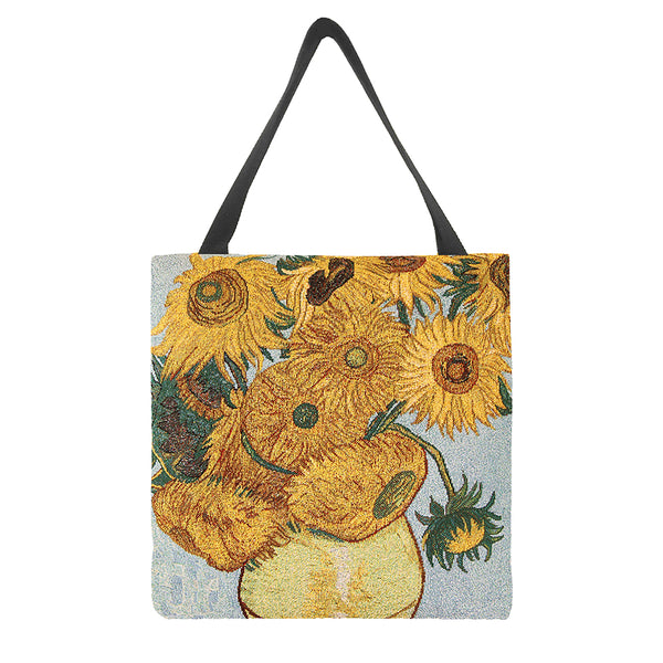 GUSS-ART-VG-SUNF | Van Gogh Sunflower Foldable Gusset Shopping Bag - www.signareusa.com