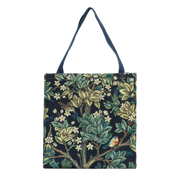 GUSS-ART-WM-TLBL | William Morris Tree of Life Blue Foldable Gusset Shopping Bag - www.signareusa.com