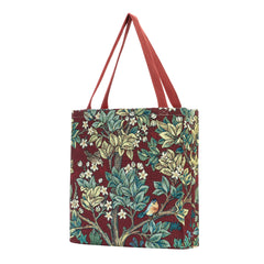 GUSS-ART-WM-TLRD | William Morris Tree of Life Red Foldable Gusset Shopping Bag - www.signareusa.com