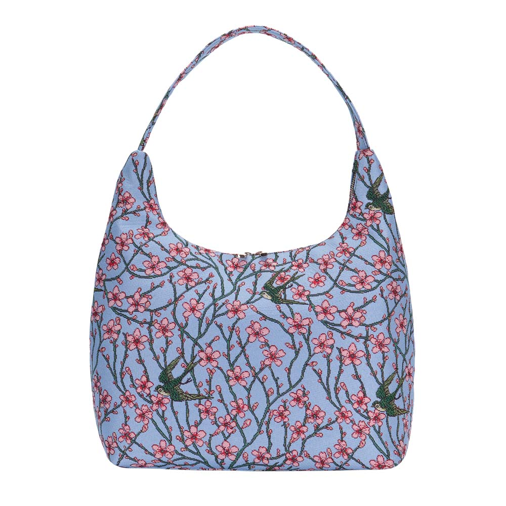 HOBO-BLOS | ALMOND BLOSSOM AND SWALLOW HOBO HANDBAG SHOULDER BAG - www.signareusa.com