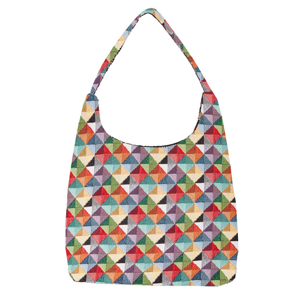HOBO-MTRI | MULTICOLOR TRIANGLE HOBO HANDBAG SHOULDER BAG - www.signareusa.com