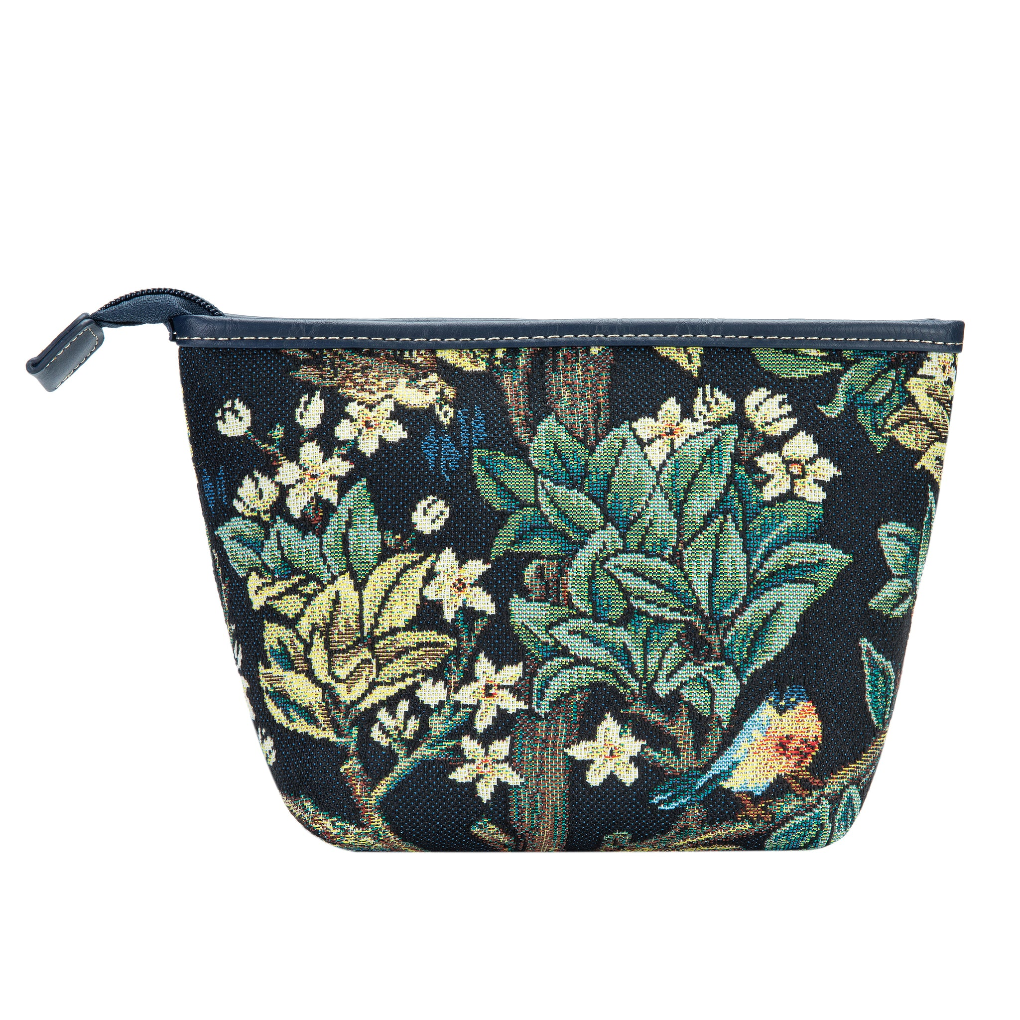 MAKEUP-ART-WM-TLBL | WILLIAM MORRIS TREE OF LIFE BLUE  MAKE UP COSMETIC BAG - www.signareusa.com