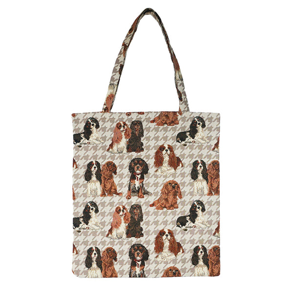MECO-KGCS | KING CHARLES CAVALIER SPANIEL MEDIUM ECO REUSABLE GROCERY TOTE BAG - www.signareusa.com