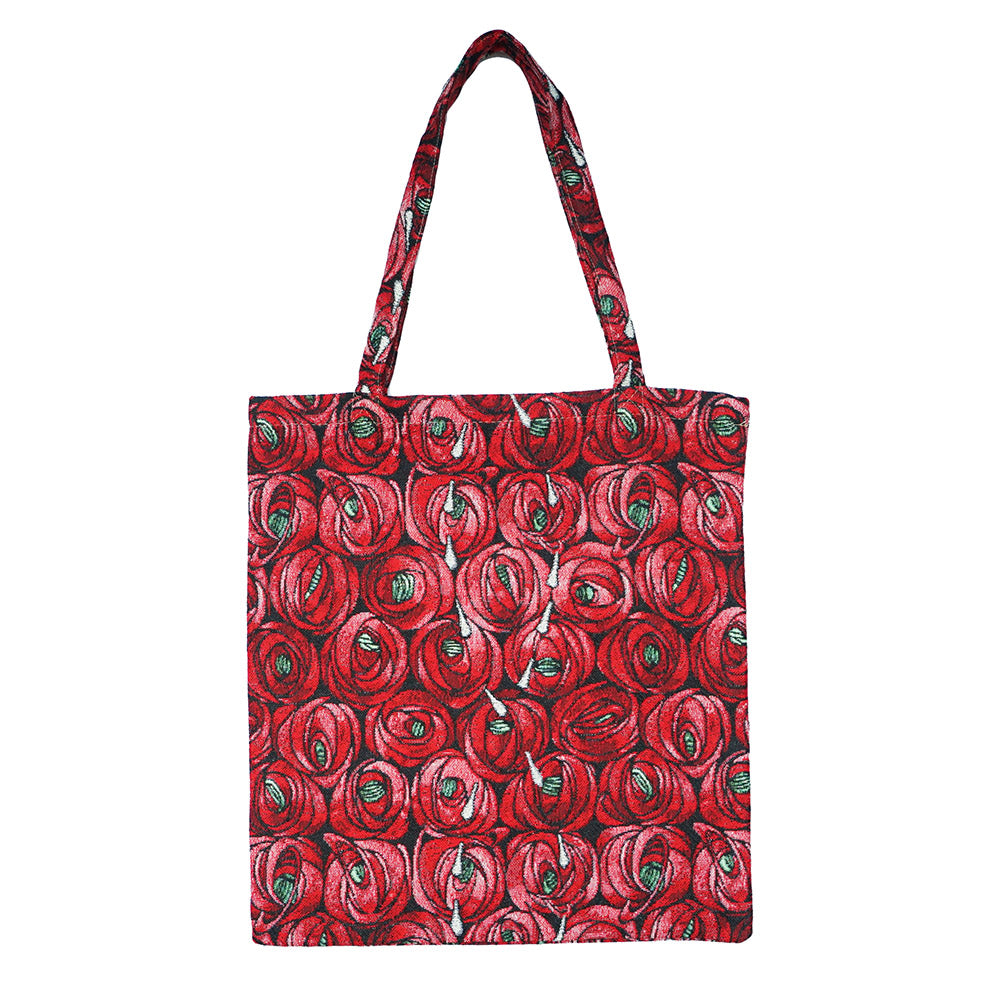 MECO-RMTD | RENNIE MACKINTOSH ROSE AND TEARDROP MEDIUM ECO REUSABLE GROCERY TOTE BAG - www.signareusa.com