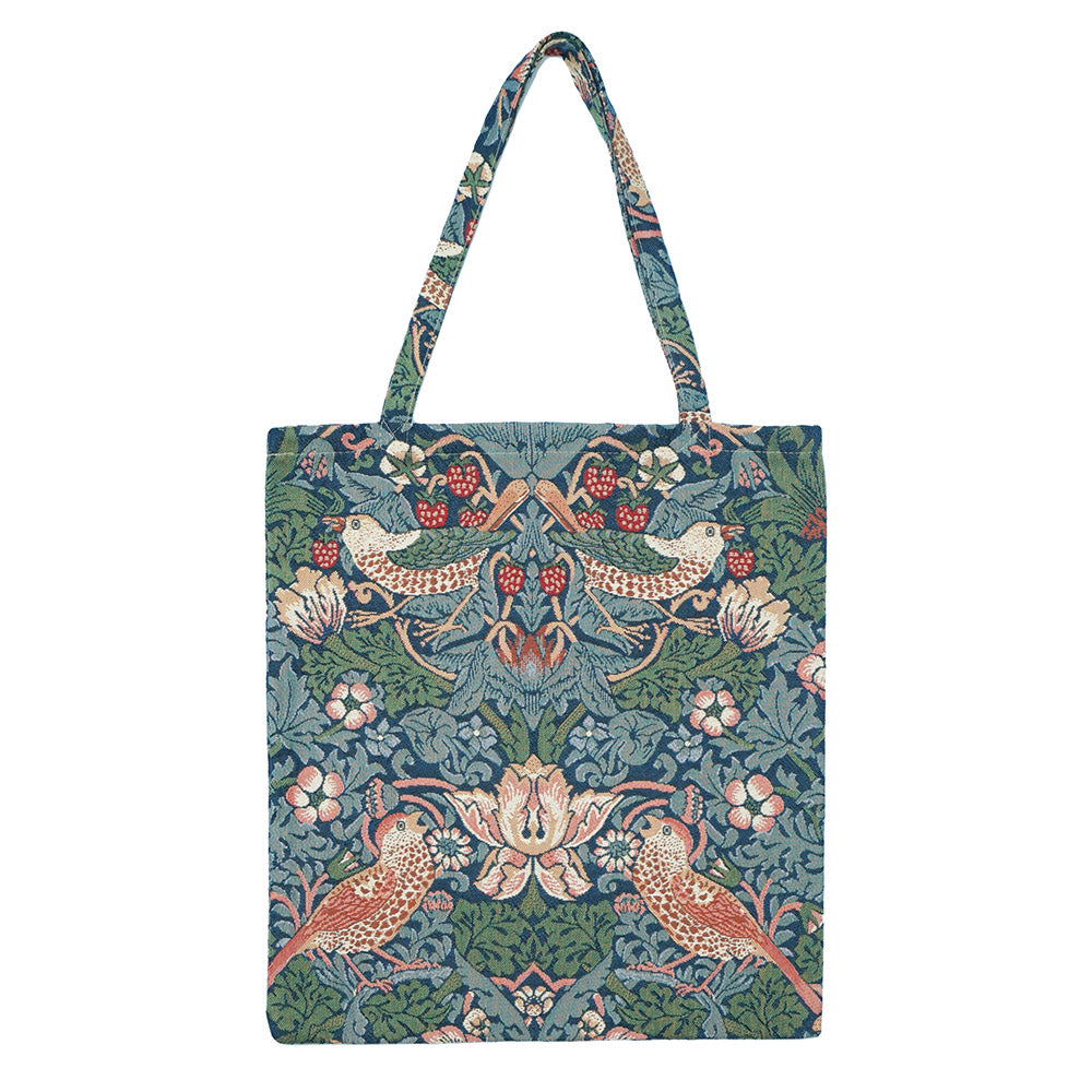 MECO-STBL | WILLIAM MORRIS STRAWBERRY THIEF BLUE MEDIUM ECO REUSABLE GROCERY TOTE BAG - www.signareusa.com