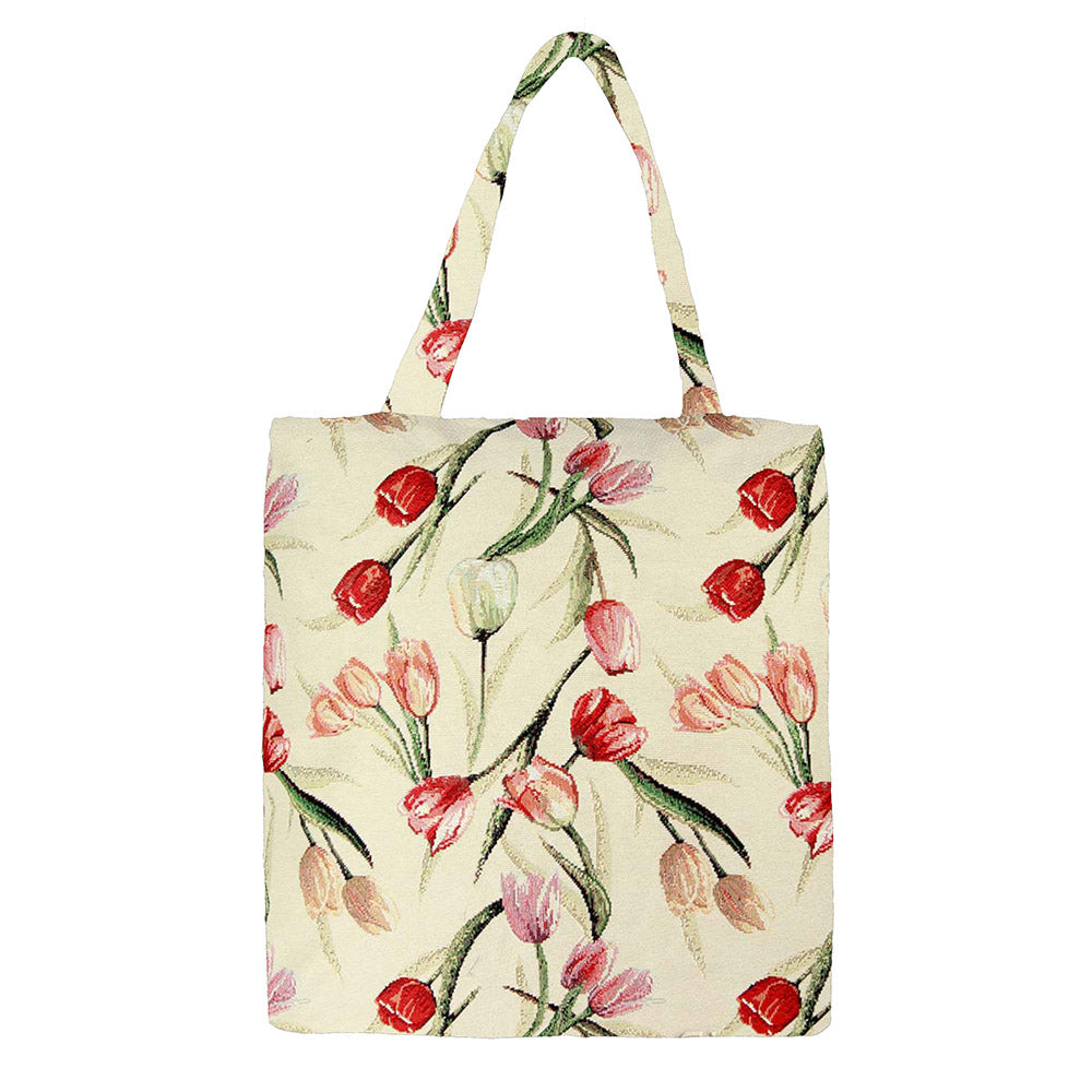 MECO-TULWT | TULIP WHITE MEDIUM ECO REUSABLE GROCERY TOTE BAG - www.signareusa.com