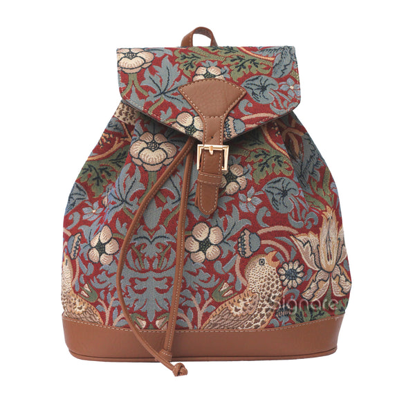 RUCK-STRD | WILLIAM MORRIS STRAWBERRY THIEF RED RUCKSACK - www.signareusa.com