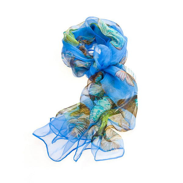 SC-BUTT-RBL | Royal Blue 100% Pure Silk Butterfly Scarf - www.signareusa.com
