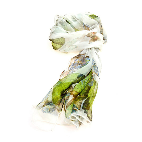 SC-BUTT-WHIT | White 100% Pure Silk Butterfly Scarf - www.signareusa.com