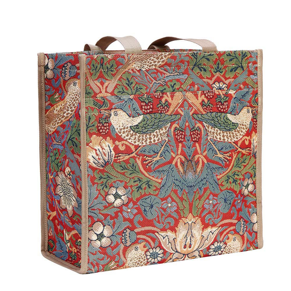 SHOP-STRD | WILLIAM MORRIS STRAWBERRY THIEF RED SHOPPER BAG - www.signareusa.com