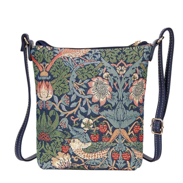 SLING-STBL | WILLIAM MORRIS STRAWBERRY THIEF BLUE SLING BAG PURSE CROSSBODY - www.signareusa.com
