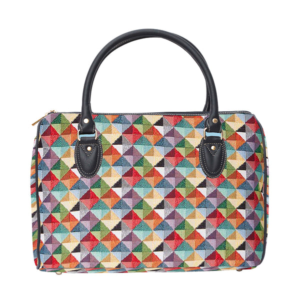 TRAV-MTRI | MULTICOLOR TRIANGLE TRAVEL BAG WEEKEND GYM HOLDALL - www.signareusa.com