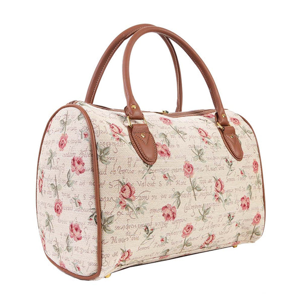 TRAV-RSPK | ROSE PINK FLORAL TRAVEL BAG WEEKEND GYM HOLDALL - www.signareusa.com