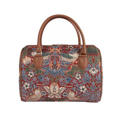 TRAV-STRD | WILLIAM MORRIS STRAWBERRY THIEF RED TRAVEL BAG WEEKEND GYM HOLDALL - www.signareusa.com