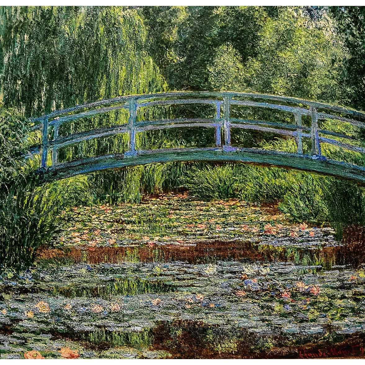 "WH-CM-JB-SMALL | CLAUDE MONET JAPANESE BRIDGE 27 X 29 "" INCH WALL HANGING TAPESTRY ART - www.signareusa.com"