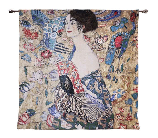"WH-GK-LF | GUSTAV KLIMT LADY WITH FAN 39 X 29 "" INCH WALL HANGING TAPESTRY ART - www.signareusa.com"
