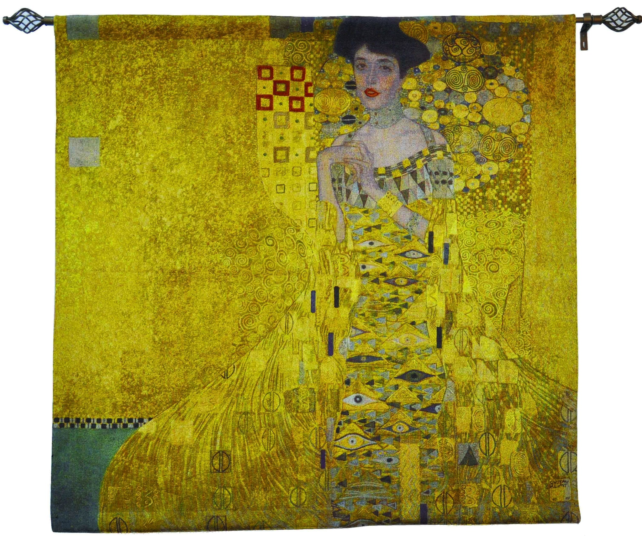 "WH-GK-WGD | GUSTAV KLIMT WOMAN IN GOLD 35 X 55 "" INCH WALL HANGING TAPESTRY ART - www.signareusa.com"