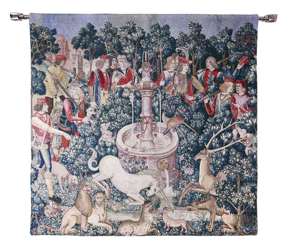 "WH-HU | THE HUNT OF THE UNICORN 39 X 39 "" INCH WALL HANGING TAPESTRY ART - www.signareusa.com"