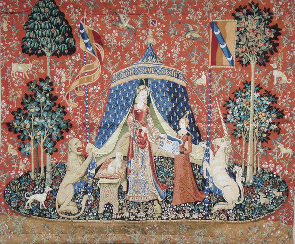 "WH-LU-DE-SM | LADY AND THE UNICORN SMALL A MON SEUL DESIR 32 X 27 "" INCH WALL HANGING TAPESTRY ART - www.signareusa.com"
