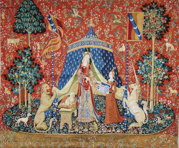 "WH-LU-DE | LADY AND THE UNICORN A MON SEUL DESIR 47 X 33 "" INCH WALL HANGING TAPESTRY ART - www.signareusa.com"