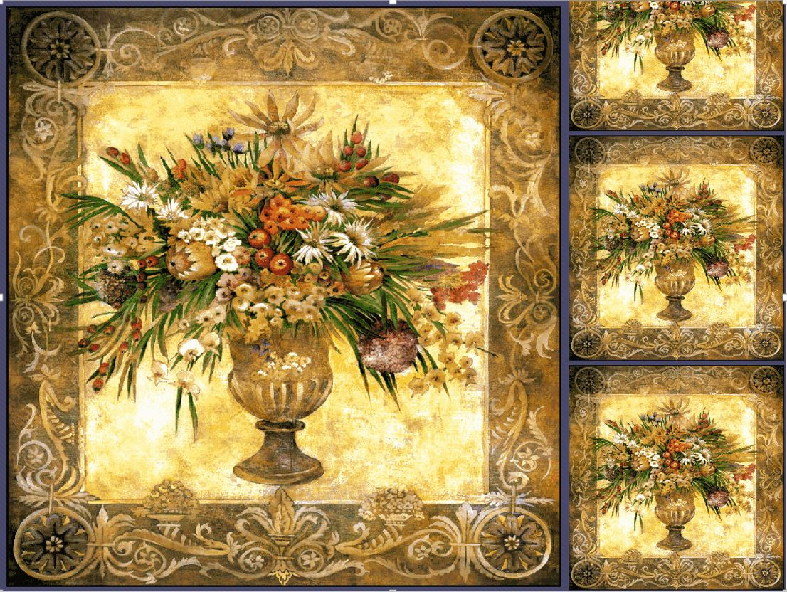 "WH-POF | POT OF FLOWERS 39 X 39 "" INCH WALL HANGING TAPESTRY ART - www.signareusa.com"