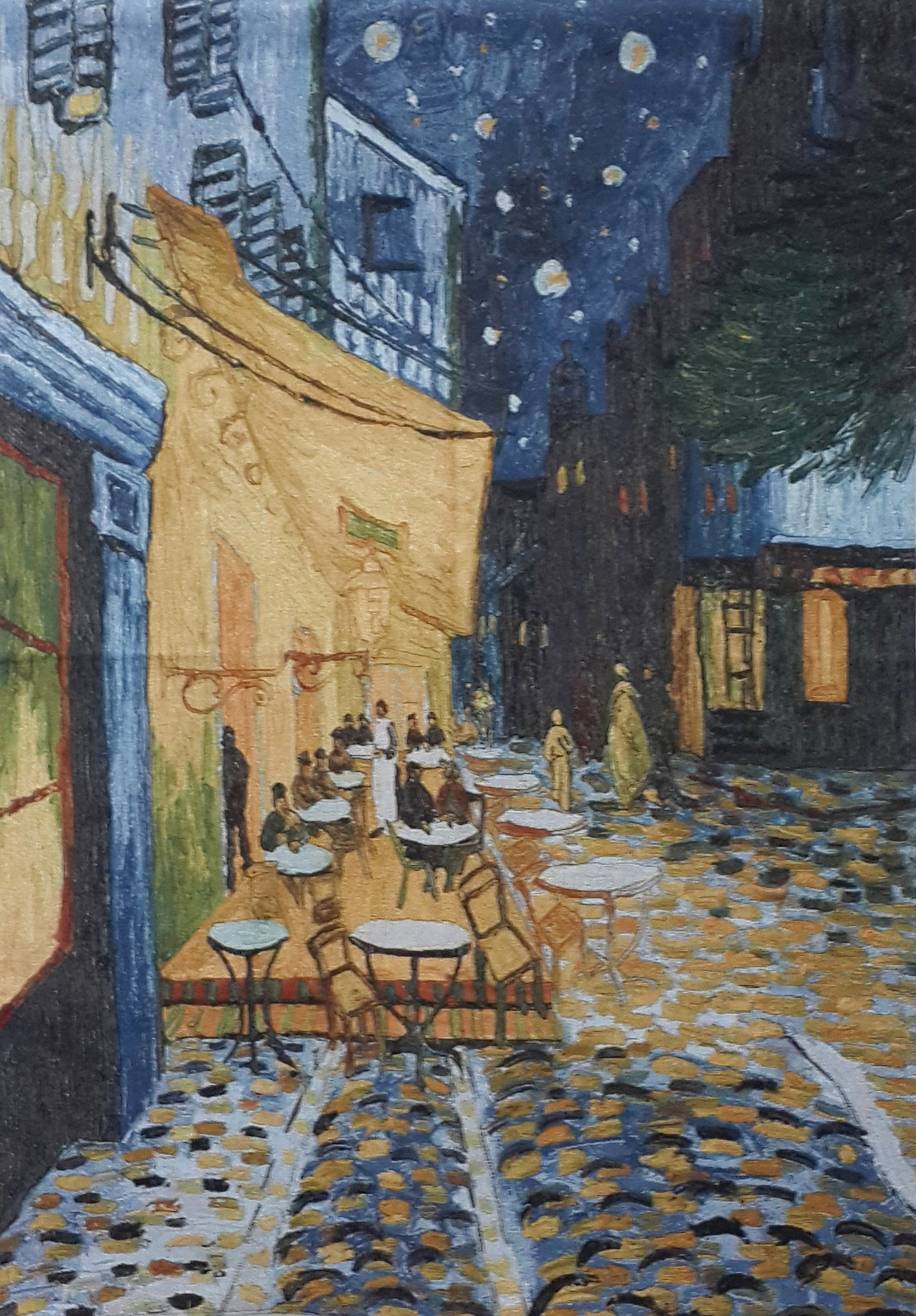 "WH-VG-CT | VINCENT VAN GOGH CAFÉ TERRACE 55 X 39 "" INCH WALL HANGING TAPESTRY ART - www.signareusa.com"