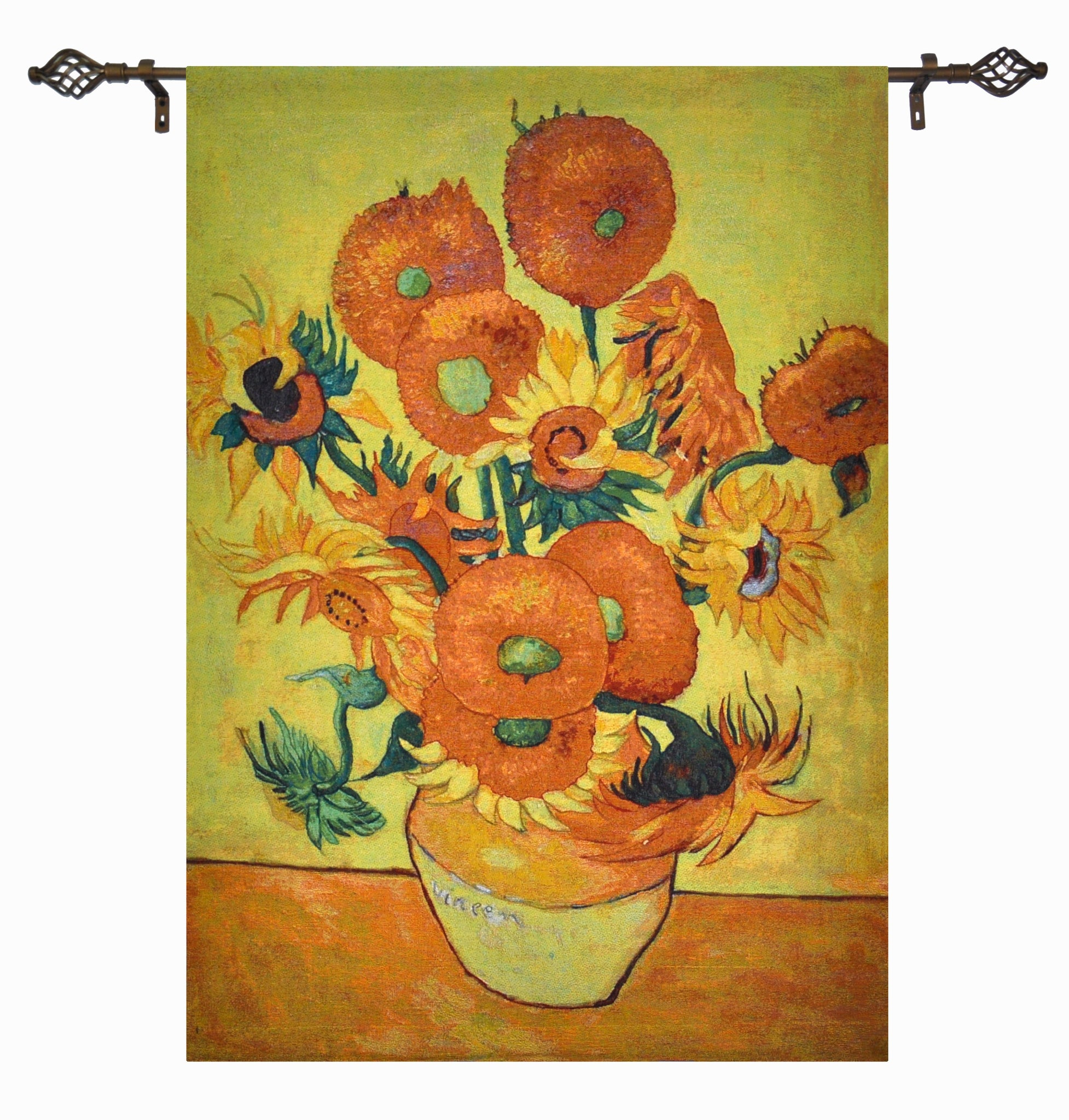 "WH-VG-SF-SM | VINCENT VAN GOGH SUNFLOWERS 27 X 35 "" INCH WALL HANGING TAPESTRY ART - www.signareusa.com"
