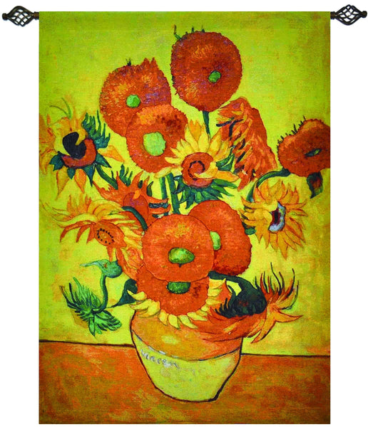 "WH-VG-SF | VINCENT VAN GOGH SUNFLOWERS 37 X 55 "" INCH WALL HANGING TAPESTRY ART - www.signareusa.com"