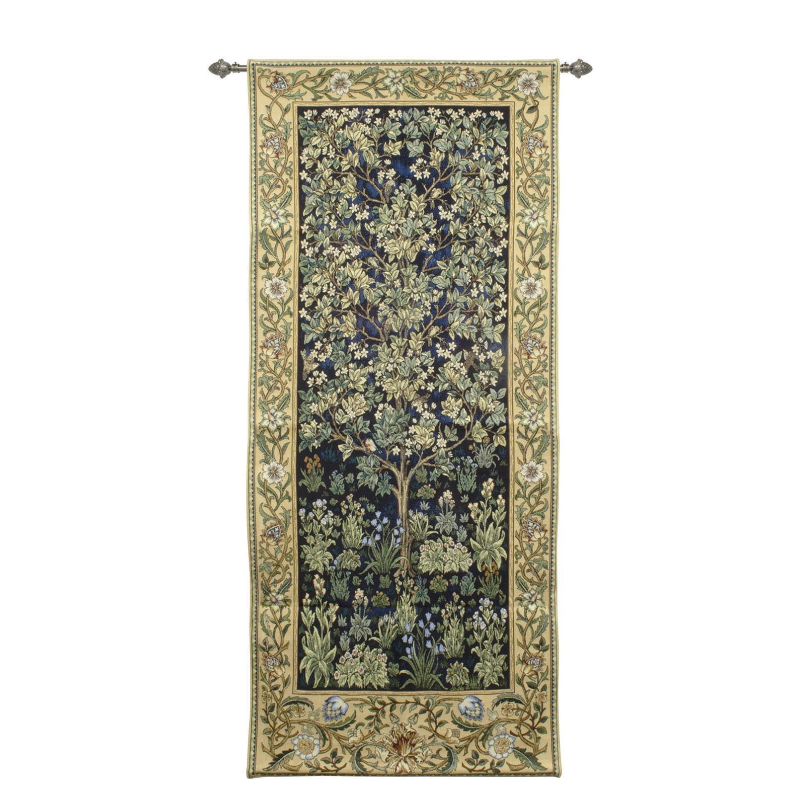 "WH-WM-TLBL-2 | WILLIAM MORRIS TREE OF LIFE BLUE 27 X 63 "" INCH WALL HANGING TAPESTRY ART - www.signareusa.com"