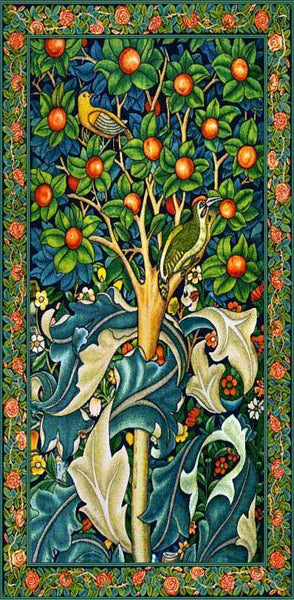 "WH-WM-WP | WILLIAM MORRIS WOODPECKER IN THE FRUIT TREE 27 X 55 "" INCH WALL HANGING TAPESTRY ART - www.signareusa.com"
