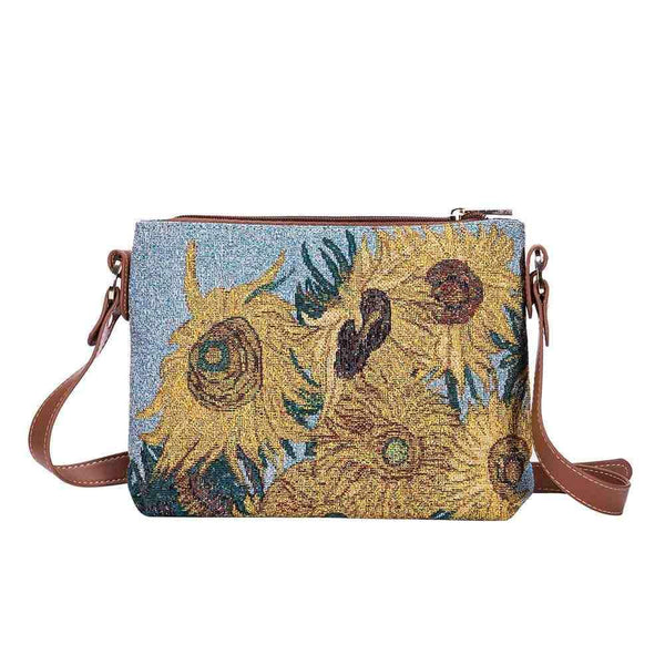XB02-ART-VG-SUNF | VAN GOGH SUNFLOWERS CROSS BODY BAG PURSE HANDBAG - www.signareusa.com