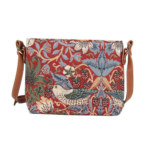 XB02-STRD | WILLIAM MORRIS STRAWBERRY THIEF RED CROSS BODY BAG PURSE HANDBAG - www.signareusa.com