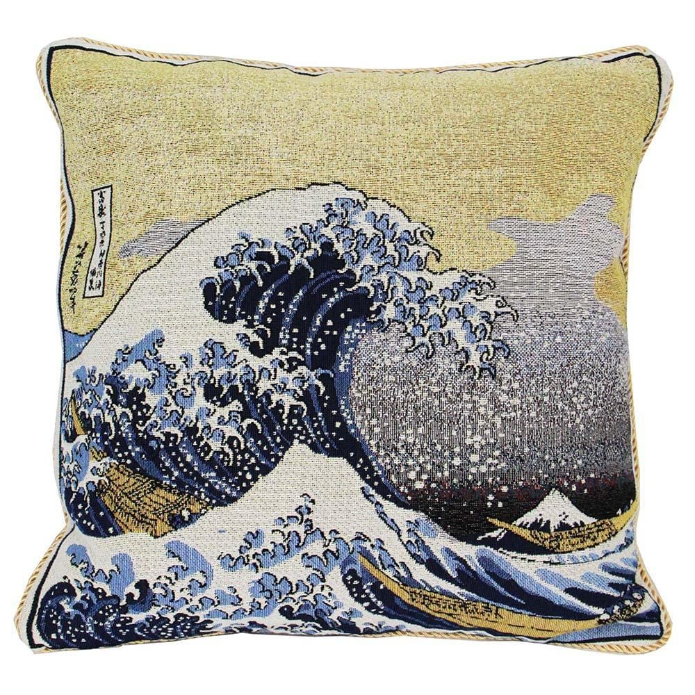 CCOV-ART-JP-WAVE | Hokusai Great Wave Pillowcase/CUSHION COVER | DECORATIVE DESIGN FASHION HOME PILLOW 18X18 INCH - www.signareusa.com