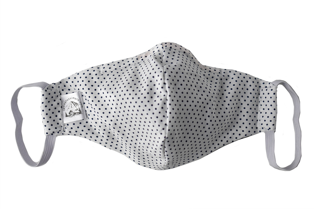 White Polka Dot Facemask - Medium