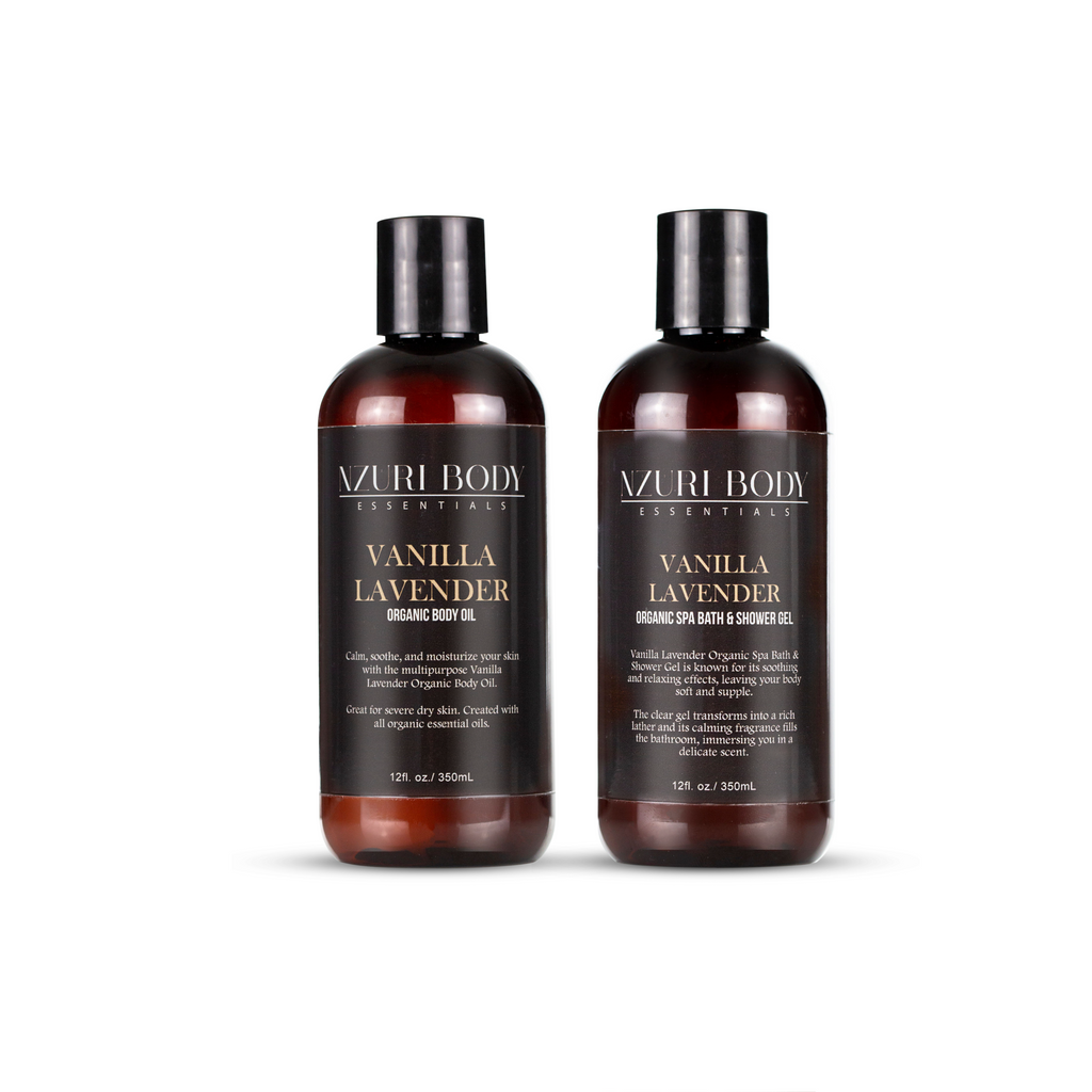 Vanilla Lavender Organic Spa Shower & Body Oil Set