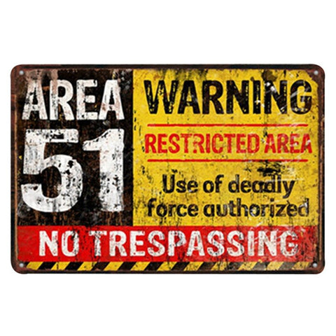 plaque metal deco zone 51 no trespassing