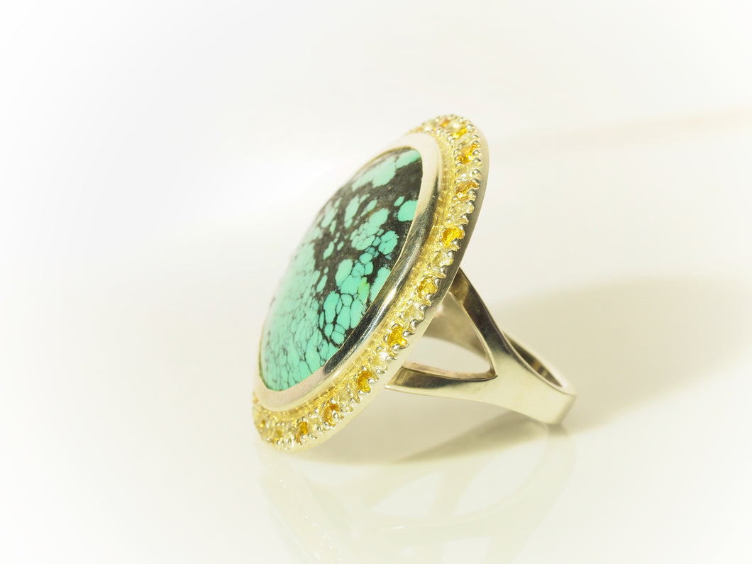 Turquoise and Sapphire Ring in Sterling Silver