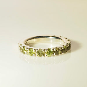 Stacking Ring. Green Sapphire Ring in Sterling Silver