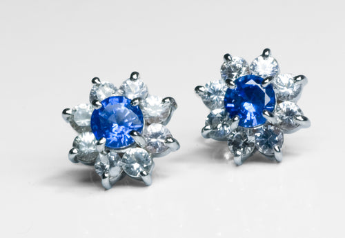 xBlue Sapphire, 18k white gold earrings