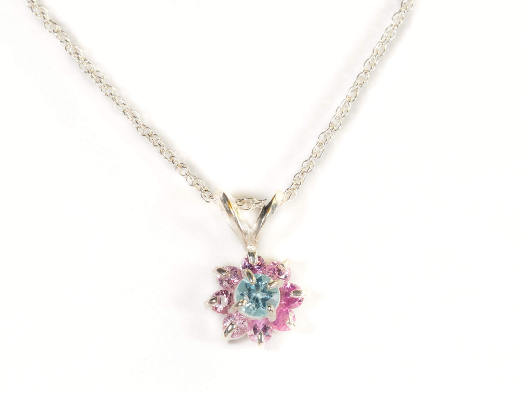 Blue topaz and pink sapphire pendant in Sterling Silver