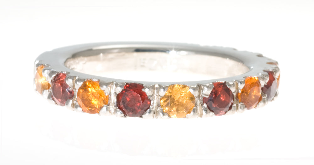 Stacking Ring. Citrine and Garnet Pave Ring in Sterling Silver