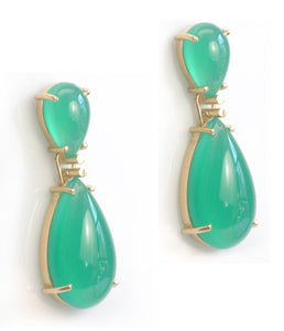 xGreen Onyx 18K Gold Earrings