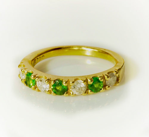 Diamond and Tsavorite set in 18K Yellow Gold Ring