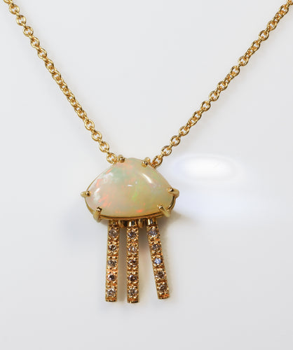 Jellyfish Opal and Diamond 18K Gold Pendant