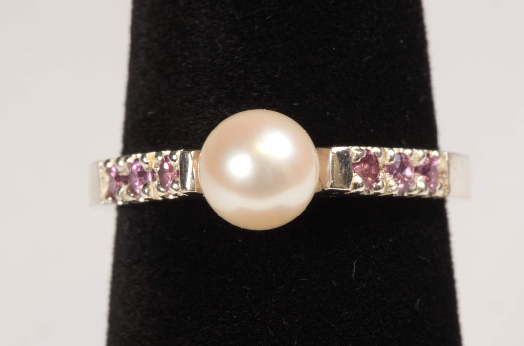 Akoya Cultured Saltwater Pearl and Pink Garnet Ring in Sterling Silver