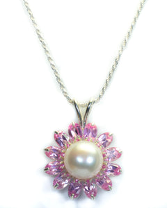 Hanna Collection.  Pearl and Pink Topaz Flower Pendant in Sterling Silver